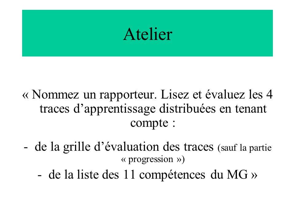 Atelier « Nommez un rapporteur. Lisez et évaluez les 4 traces d'apprentissage distribuées en tenant compte :