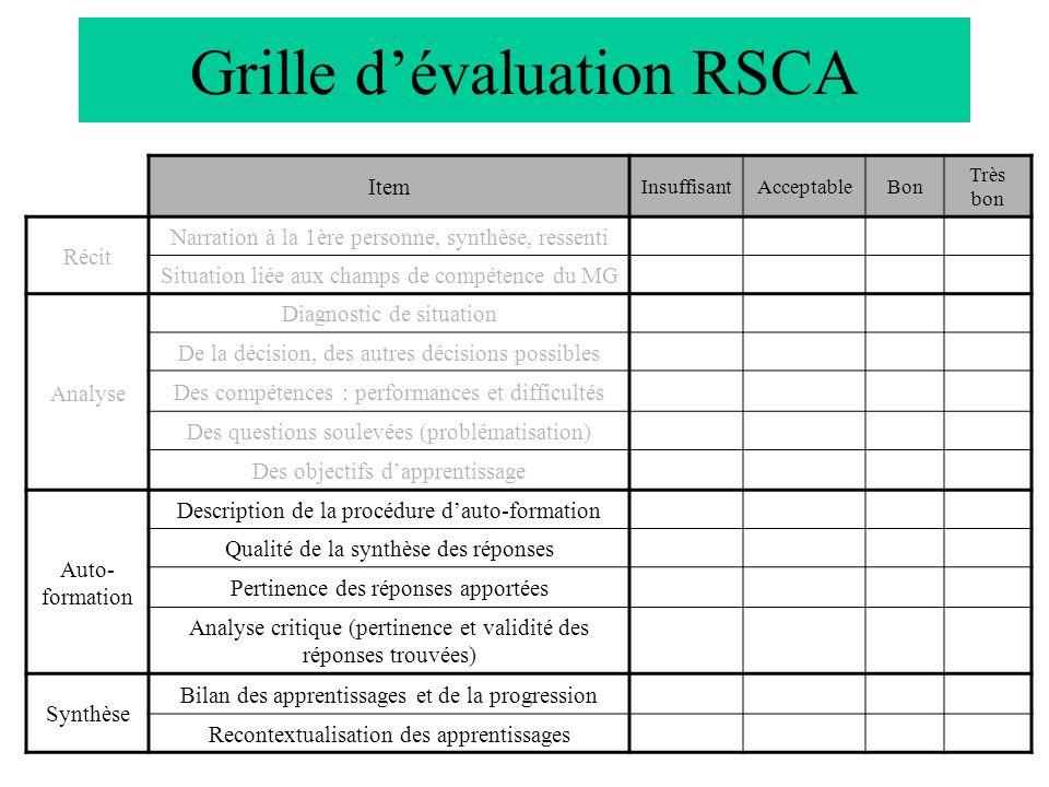 Grille d'évaluation RSCA