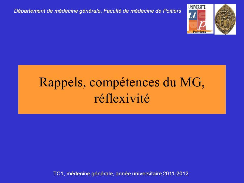 Rappels, compétences du MG, réflexivité