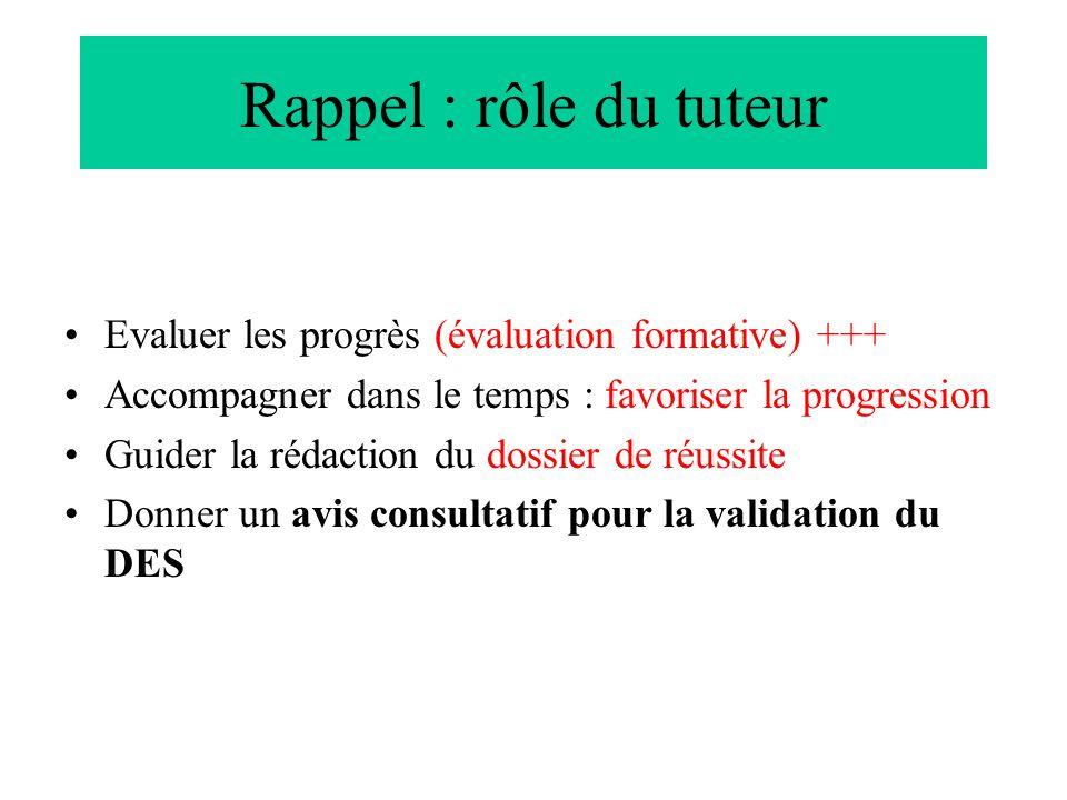 Rappel : rôle du tuteur Evaluer les progrès (évaluation formative) +++
