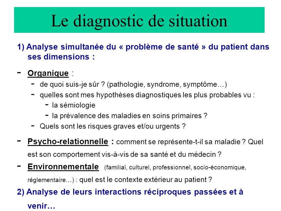 Le diagnostic de situation
