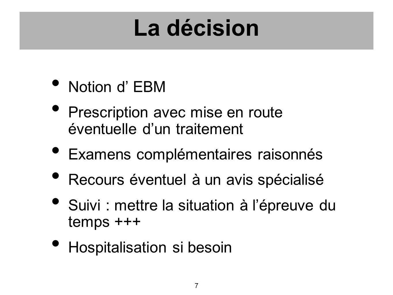 La décision Notion d' EBM