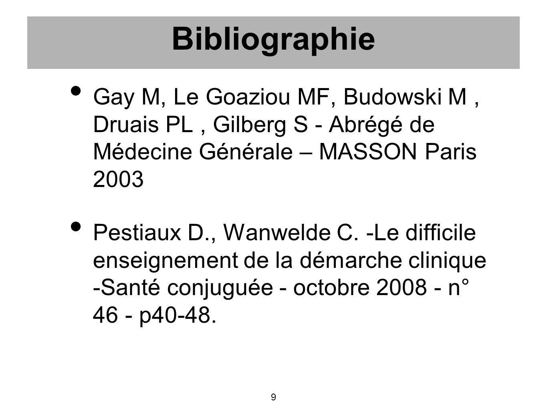 Bibliographie Gay M, Le Goaziou MF, Budowski M , Druais PL , Gilberg S - Abrégé de Médecine Générale – MASSON Paris 2003.