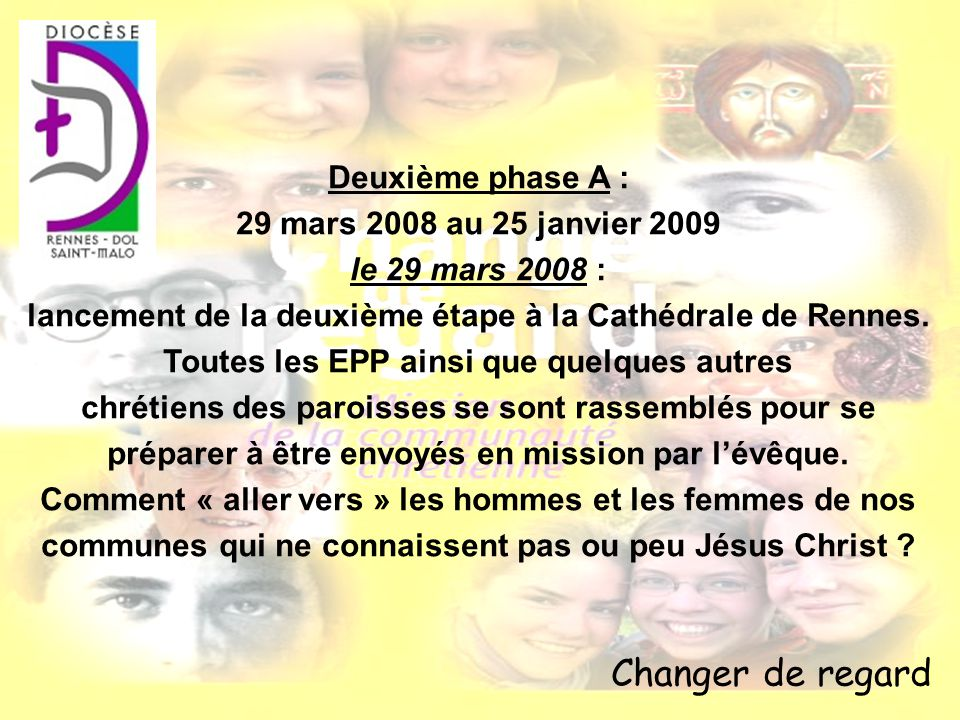 Changer de regard Deuxième phase A : 29 mars 2008 au 25 janvier 2009