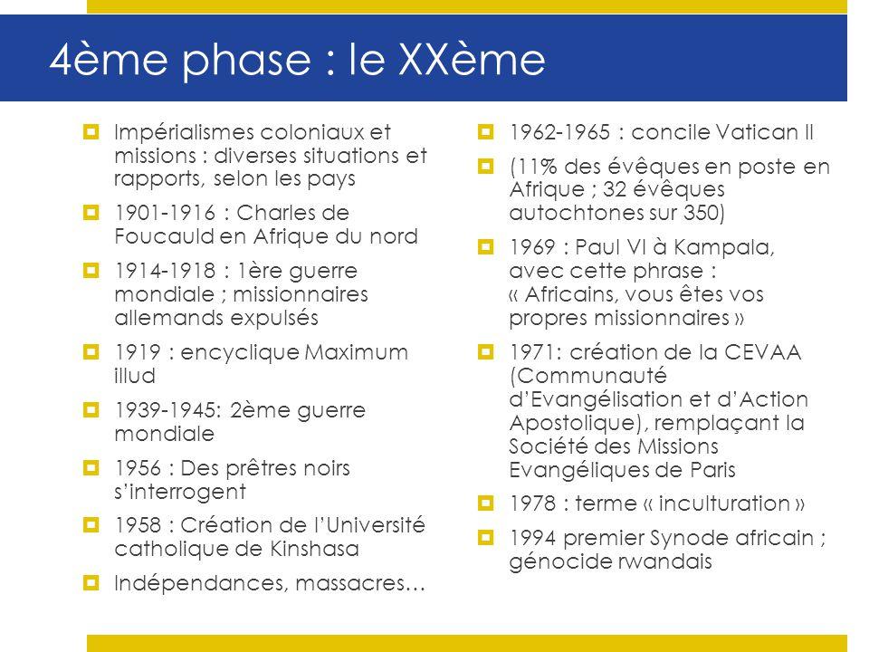 4ème phase : le XXème Impérialismes coloniaux et missions : diverses situations et rapports, selon les pays.