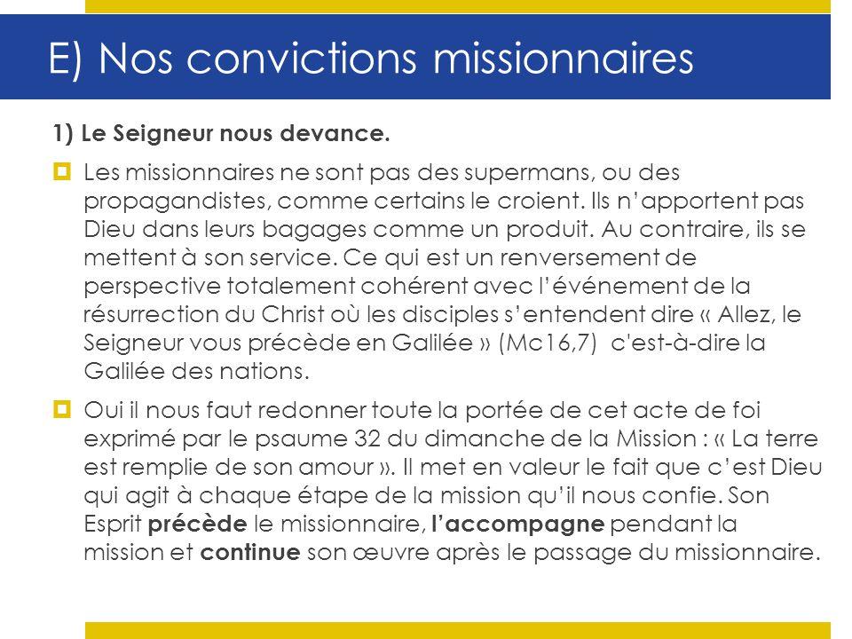 E) Nos convictions missionnaires
