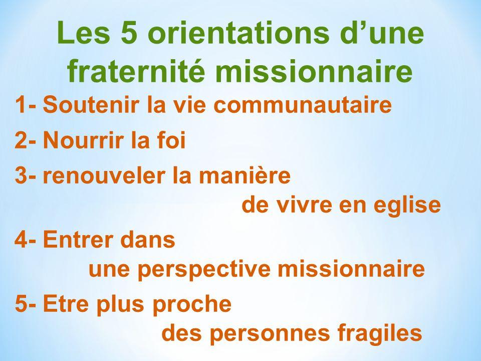 Les 5 orientations d'une fraternité missionnaire