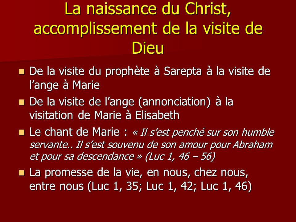 La naissance du Christ, accomplissement de la visite de Dieu