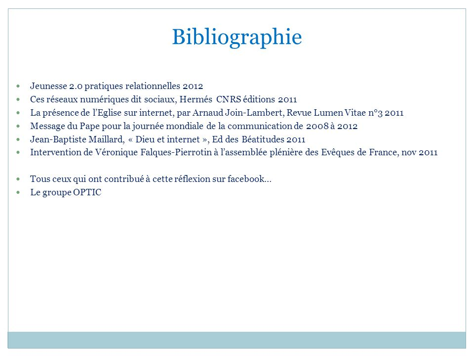 Bibliographie Jeunesse 2.0 pratiques relationnelles 2012