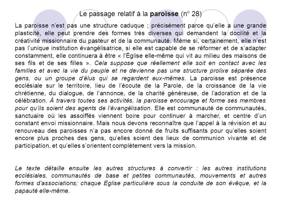 Le passage relatif à la paroisse (n° 28)