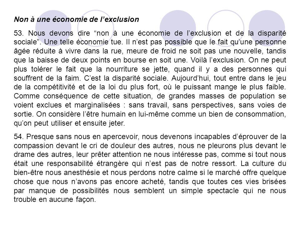 Non à une économie de l'exclusion