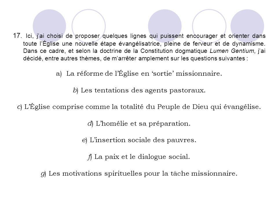 La réforme de l'Église en 'sortie' missionnaire.