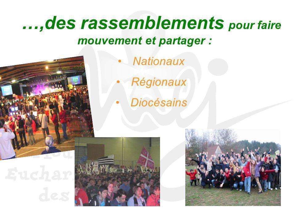 …,des rassemblements pour faire mouvement et partager :