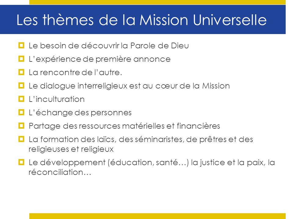 Les thèmes de la Mission Universelle