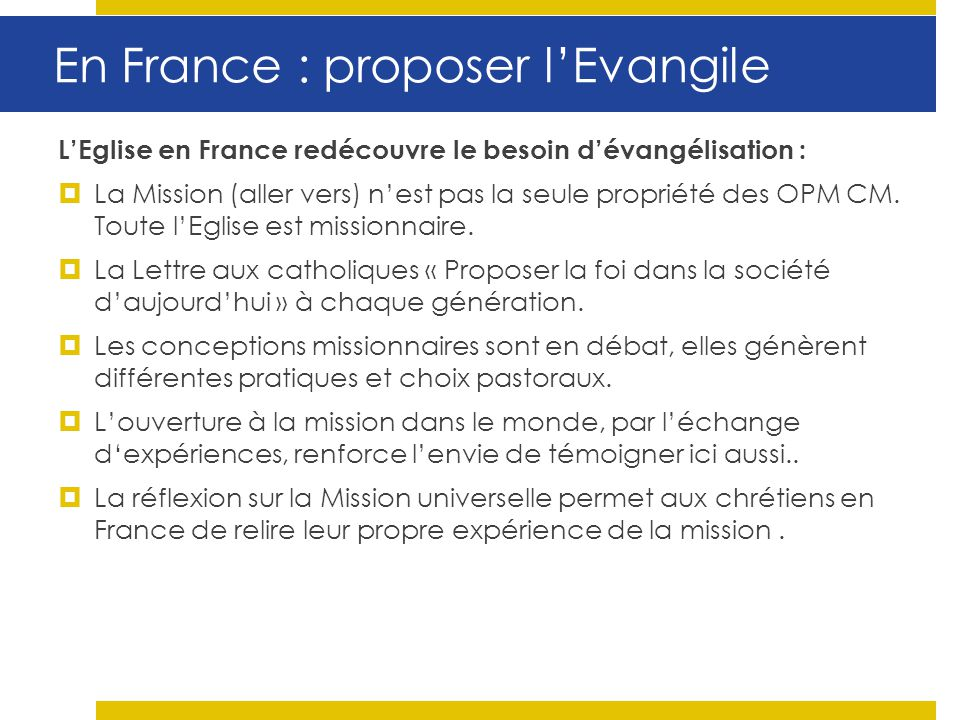 En France : proposer l'Evangile