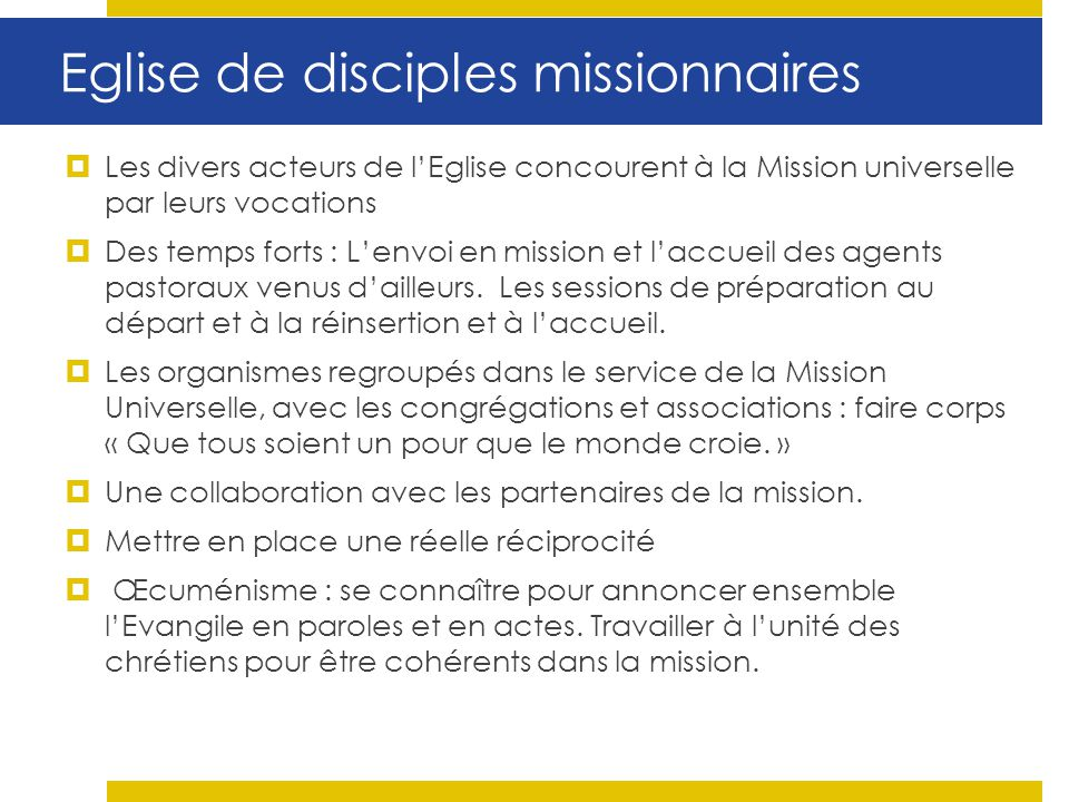 Eglise de disciples missionnaires
