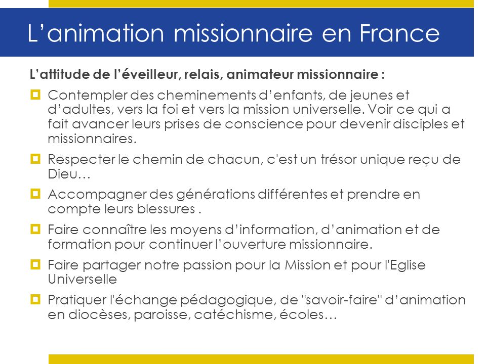 L'animation missionnaire en France
