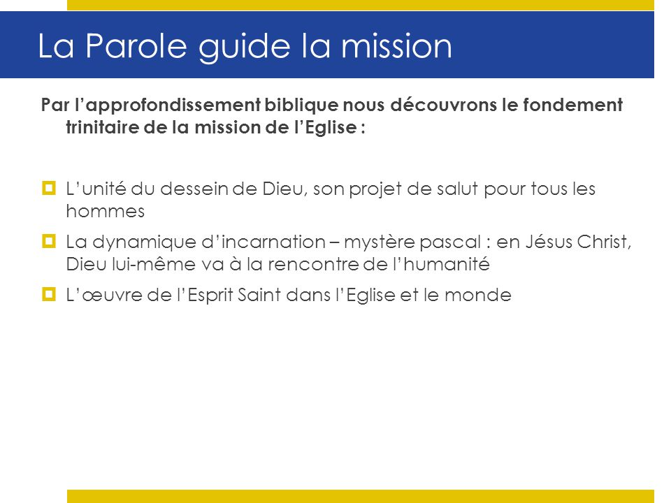 La Parole guide la mission