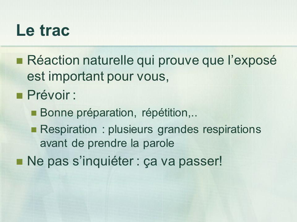 Le trac Réaction naturelle qui prouve que l'exposé est important pour vous, Prévoir : Bonne préparation, répétition,..