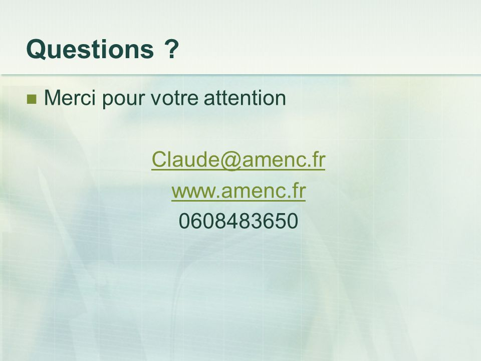 Questions Merci pour votre attention Claude@amenc.fr www.amenc.fr