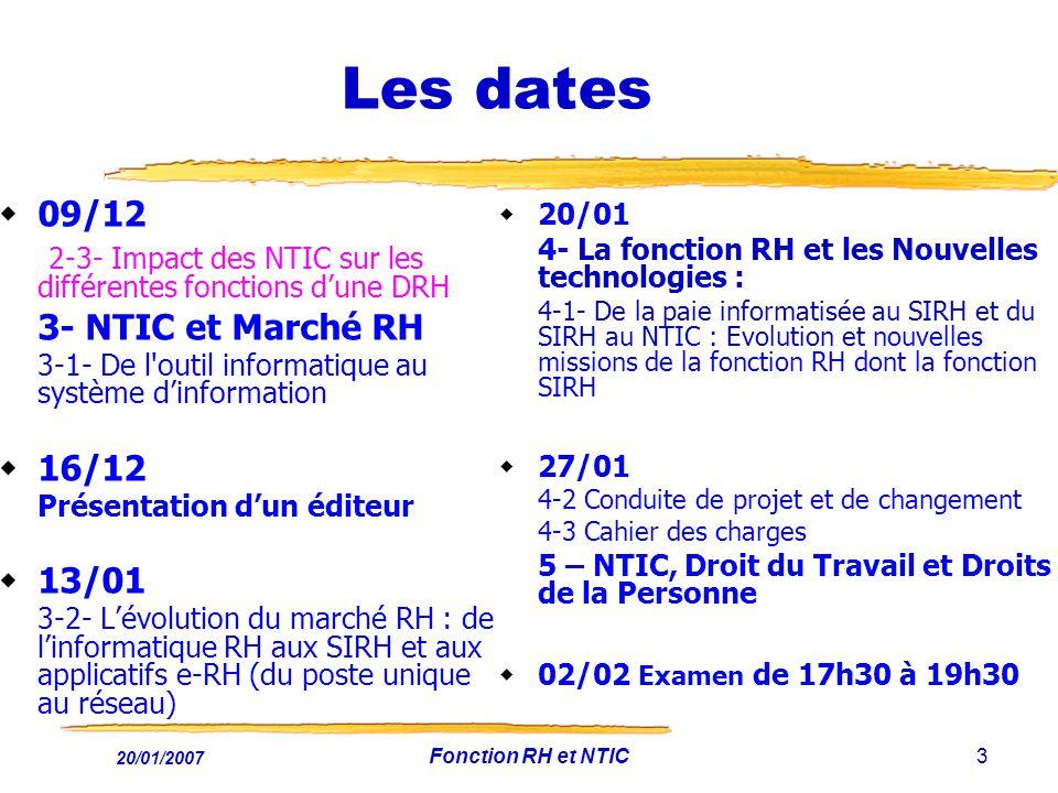 Les dates 09/12. 2-3- Impact des NTIC sur les différentes fonctions d'une DRH. 3- NTIC et Marché RH.