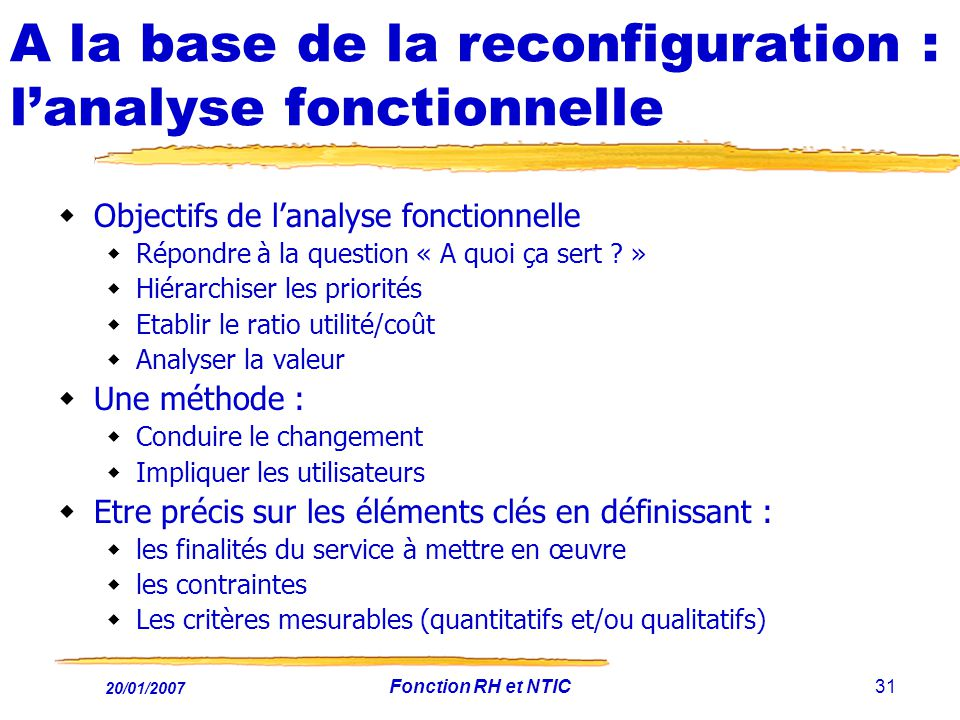 A la base de la reconfiguration : l'analyse fonctionnelle