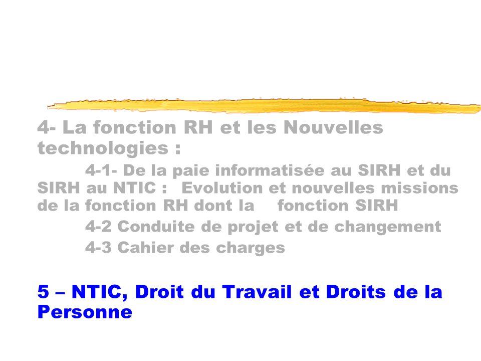 4- La fonction RH et les Nouvelles technologies :