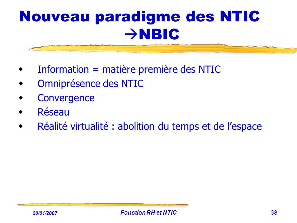 Nouveau paradigme des NTIC NBIC