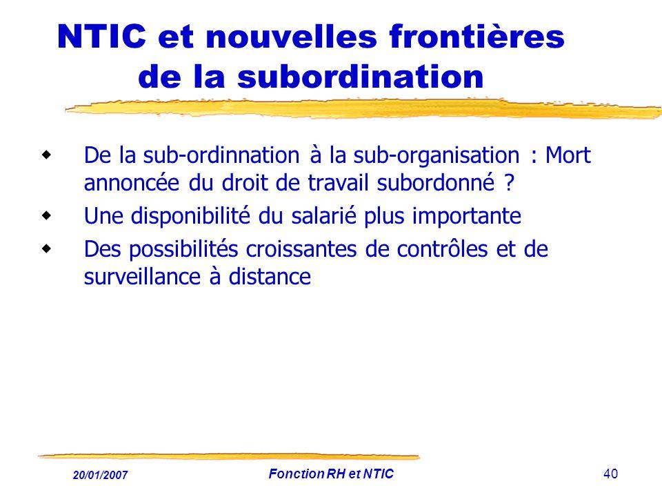 NTIC et nouvelles frontières de la subordination