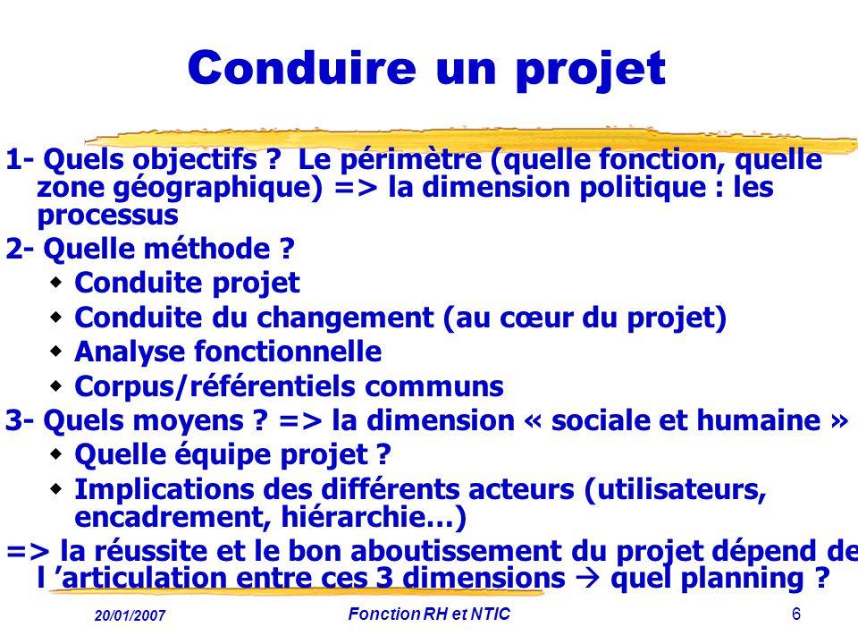 Conduite du changement (au cœur du projet) Analyse fonctionnelle