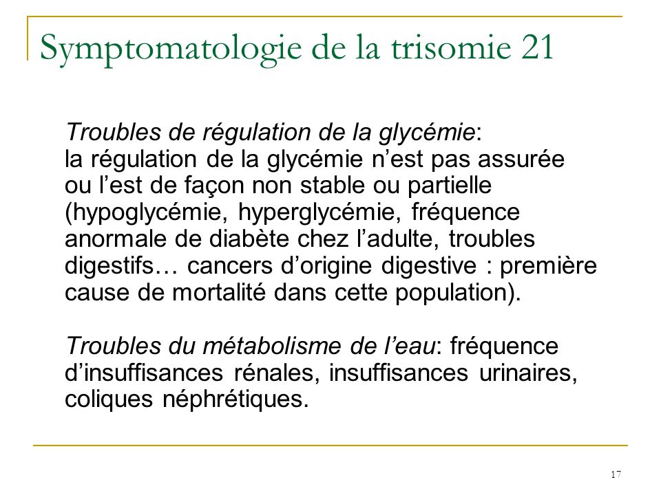 Symptomatologie de la trisomie 21