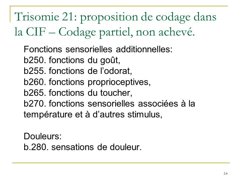 Trisomie 21: proposition de codage dans la CIF – Codage partiel, non achevé.
