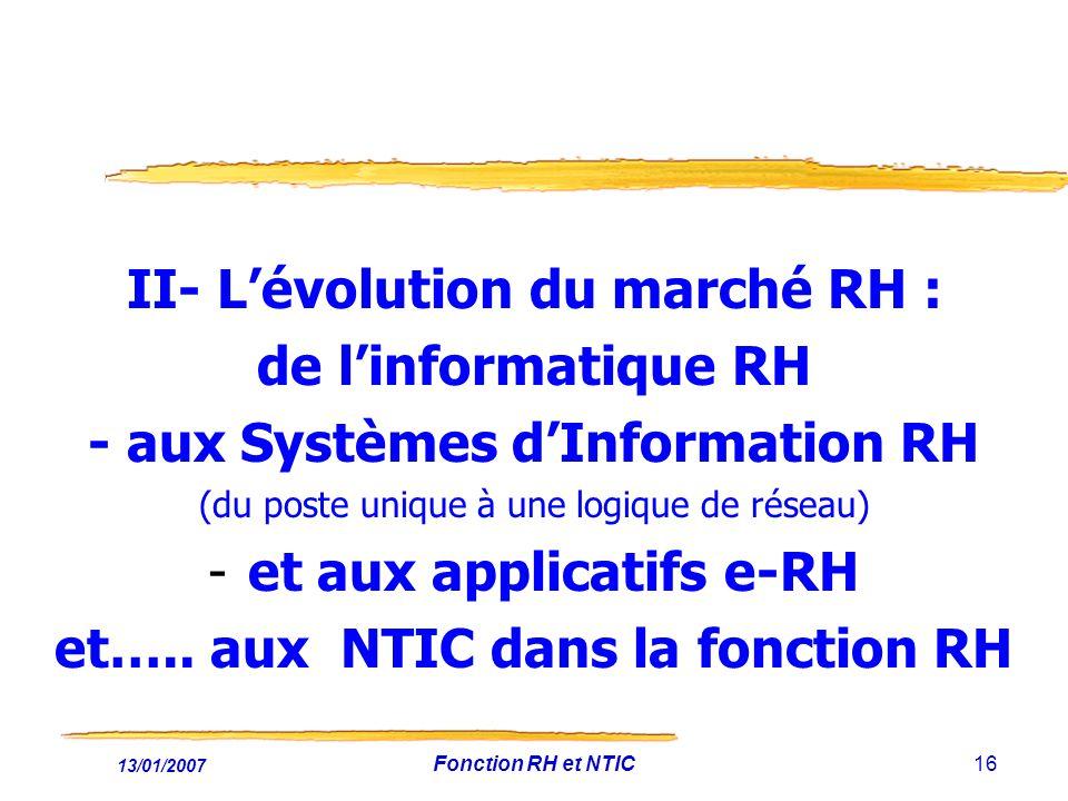 II- L'évolution du marché RH : de l'informatique RH