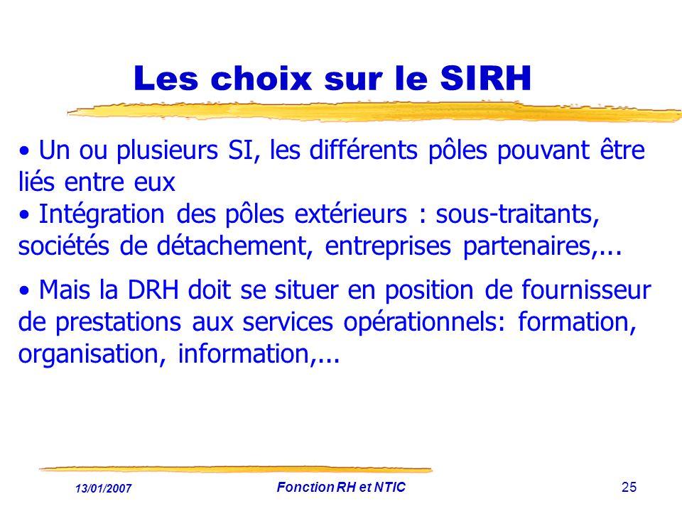 Les choix sur le SIRH Un ou plusieurs SI, les différents pôles pouvant être liés entre eux.