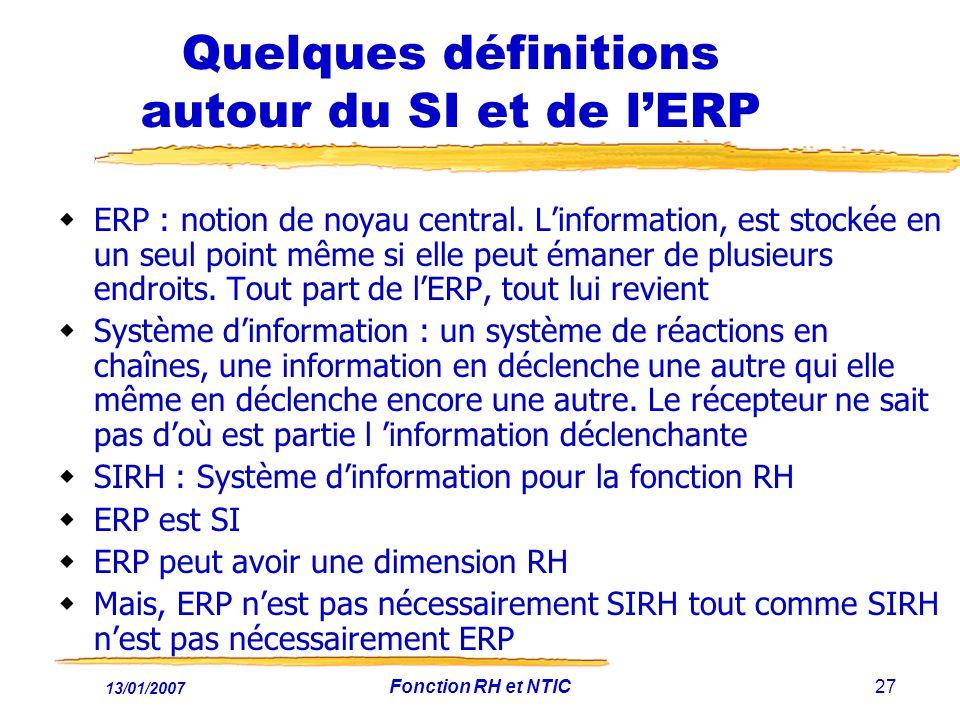 Quelques définitions autour du SI et de l'ERP