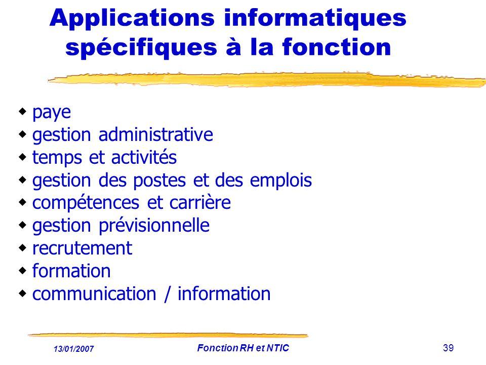 Applications informatiques spécifiques à la fonction