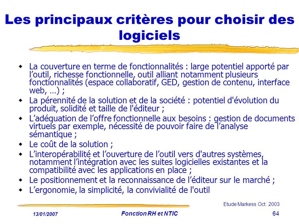 Les principaux critères pour choisir des logiciels