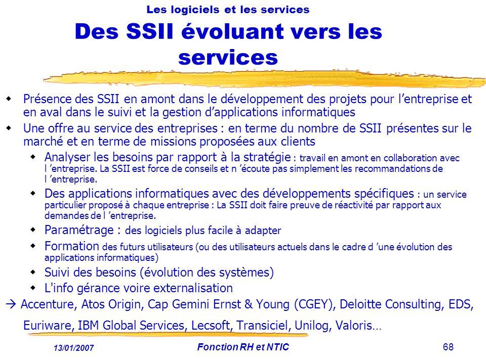 Les logiciels et les services Des SSII évoluant vers les services