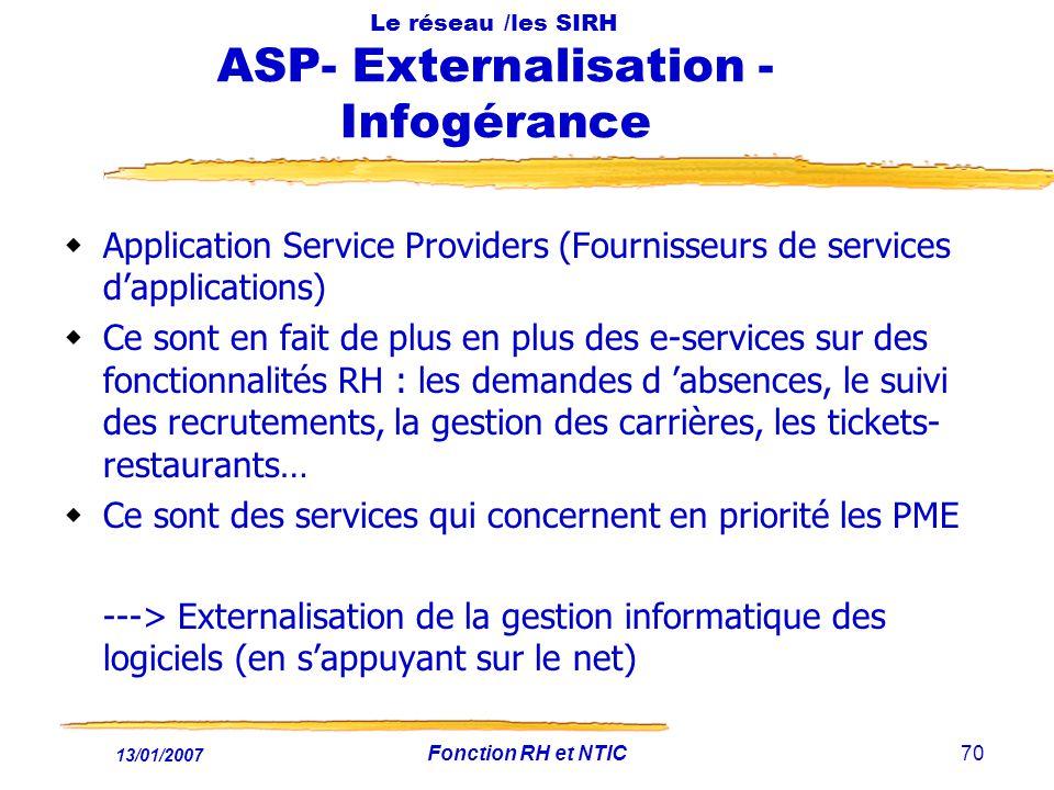Le réseau /les SIRH ASP- Externalisation - Infogérance