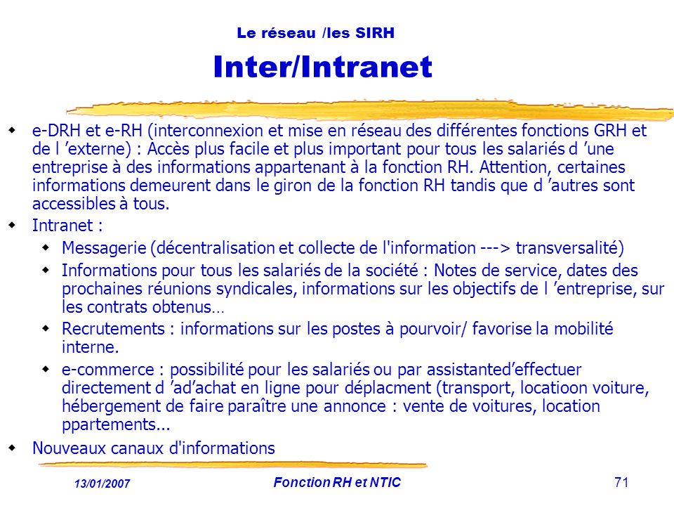 Le réseau /les SIRH Inter/Intranet
