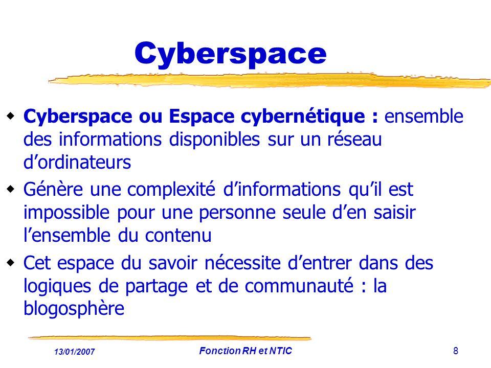 Cyberspace Cyberspace ou Espace cybernétique : ensemble des informations disponibles sur un réseau d'ordinateurs.