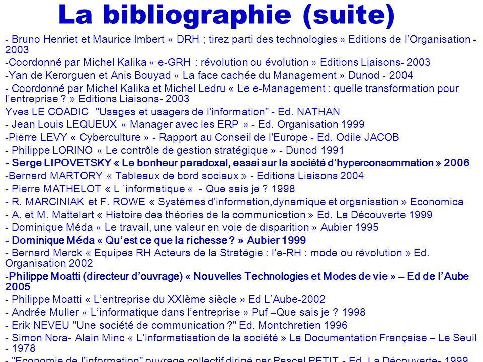 La bibliographie (suite)