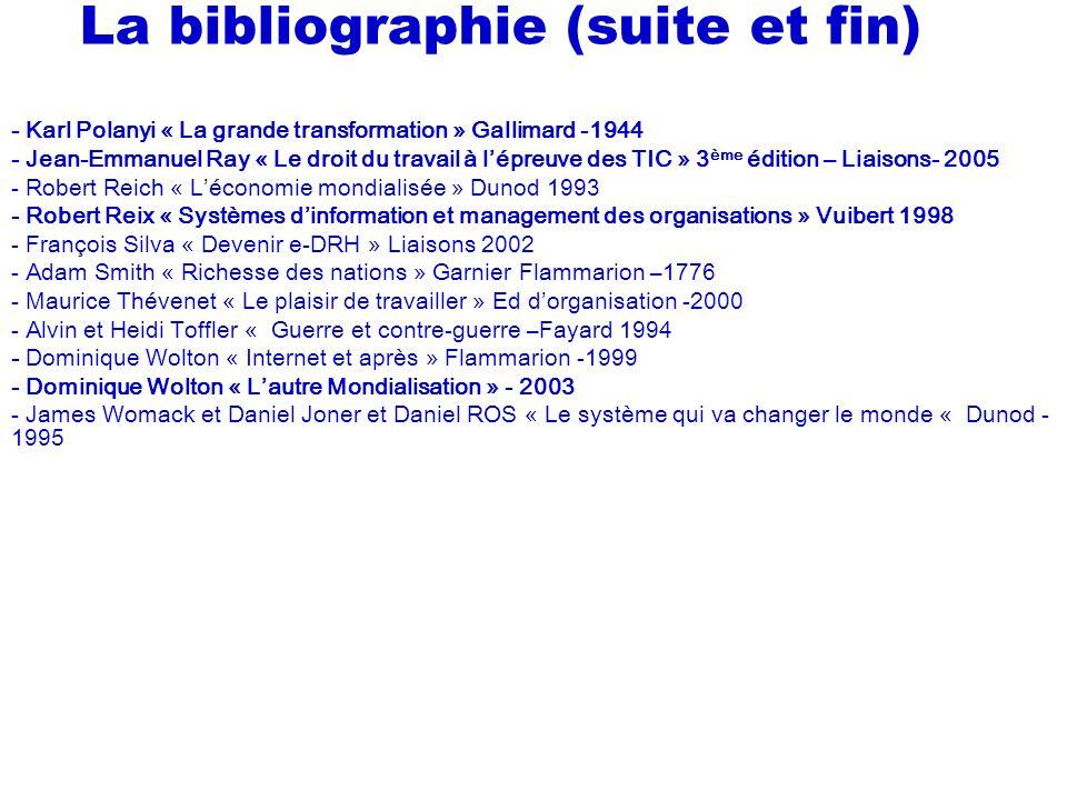 La bibliographie (suite et fin)