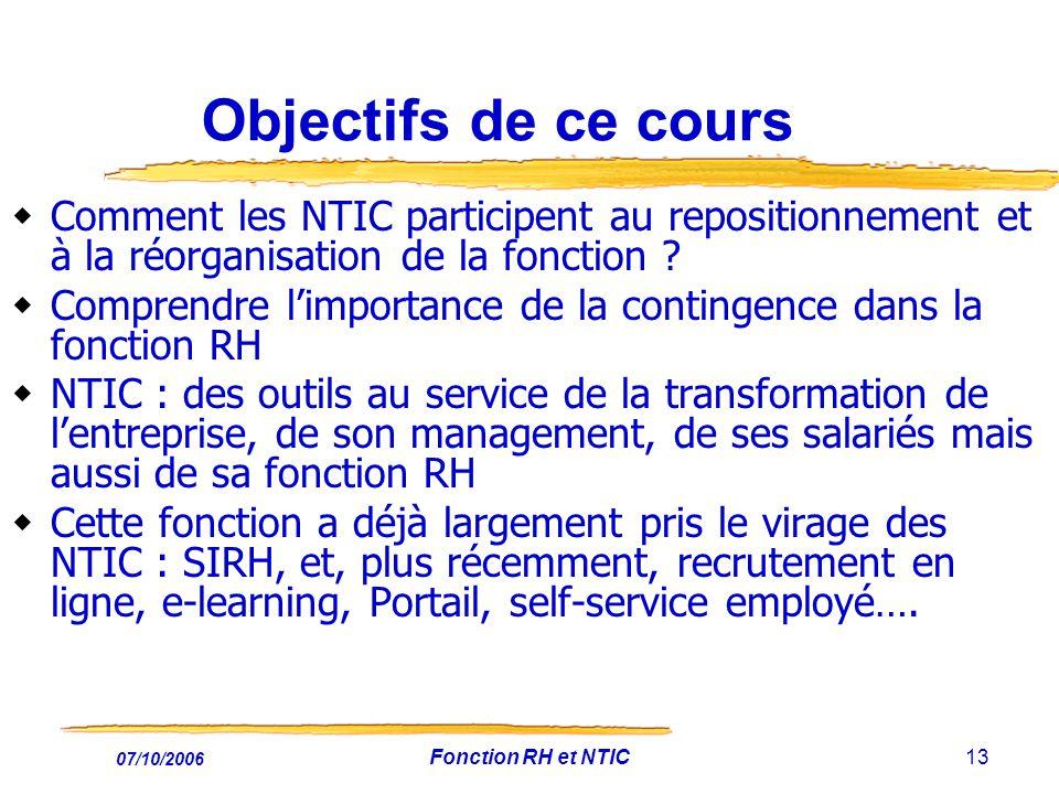Objectifs de ce cours Comment les NTIC participent au repositionnement et à la réorganisation de la fonction
