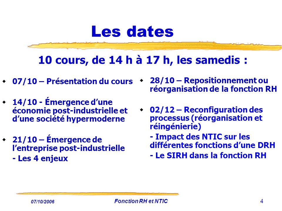Les dates 10 cours, de 14 h à 17 h, les samedis :