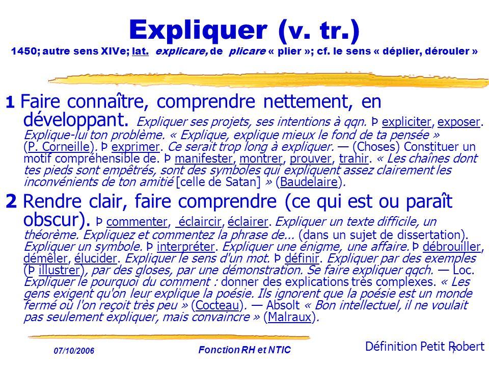 Expliquer (v. tr. ) 1450; autre sens XIVe; lat