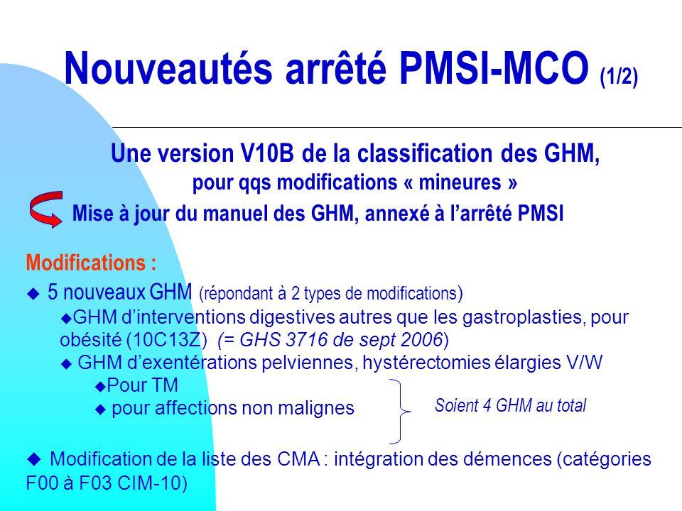 Nouveautés arrêté PMSI-MCO (1/2)