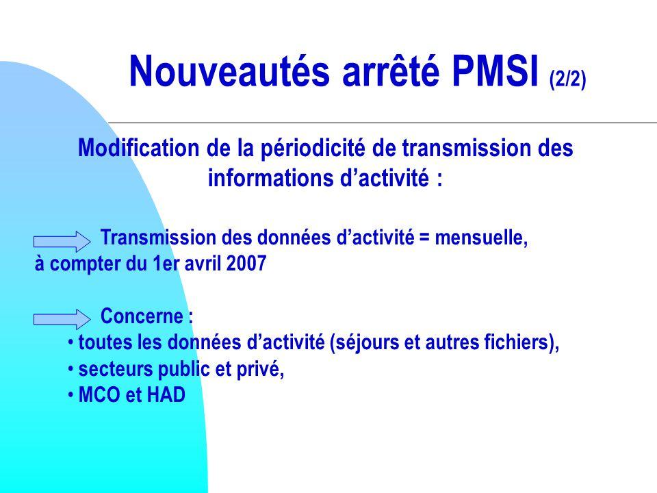 Nouveautés arrêté PMSI (2/2)