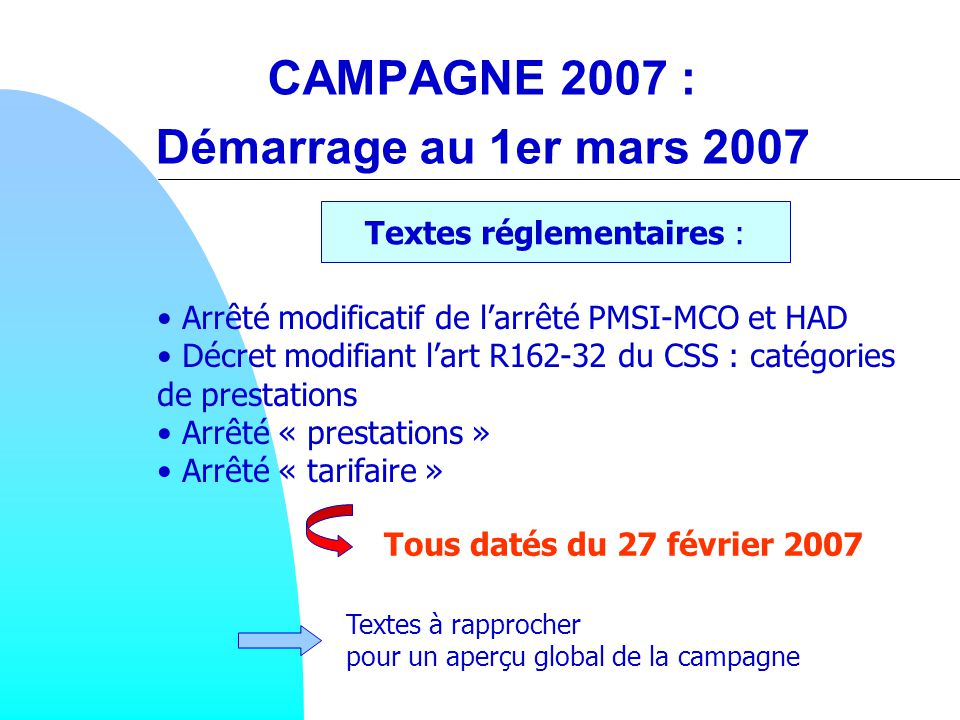 CAMPAGNE 2007 : Démarrage au 1er mars 2007