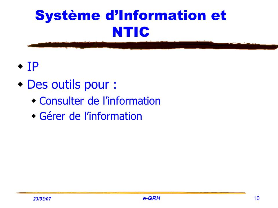 Système d'Information et NTIC